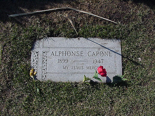 The grave of Al Capone is located in the Mt Carmel Cemetery in Hillside Illinois