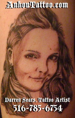 My Mothers Day Tattoo! My Babies Portrait by Darren Sears, Artist-Tattoo Artist AnkouTattoo.com
