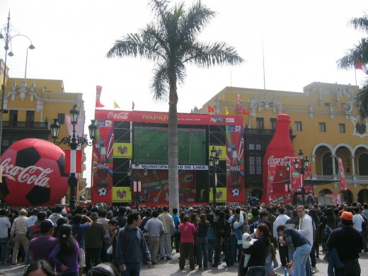 Plaza de Armas during the World Cup 2010 Finals.  People flocked to the city center to watch the game on the screen positioned in front of the Municipalidad.