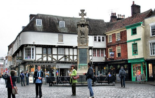 The Burgate, Canterbury, with the Old Buttermarket in the background