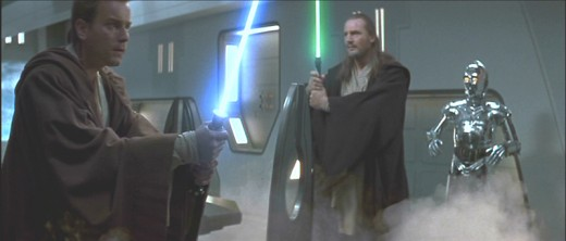 Gas pours into the negotiation room in an assassination attempt by the Trade Federation against Qui-Gon Jinn and Obi-Wan Kenobi.