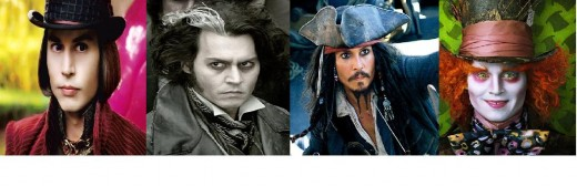 Depp playing Willy Wonka, Sweeney Todd, Captain Jack Sparrow and The Mad Hatter