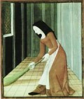 A more lowly medieval woman sweeping.