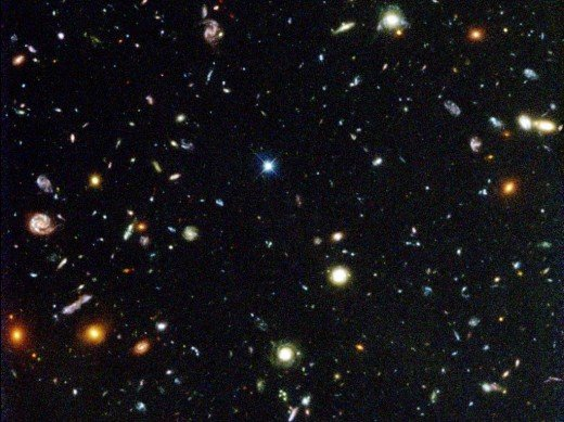 A Hubble deep field photo shows hundreds of very distant galaxies. It is estimated that there are as many galaxies in the observable cosmos as there are stars in our galaxy.
