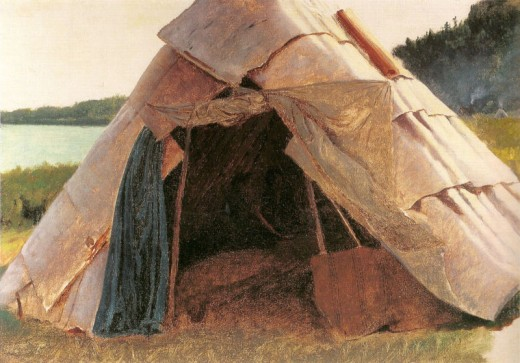 ''Ojibwe Wigwam at Grand Portage (MN)'' painted by Eastman Johnson, 1857. Examples of this home can be seen in Mid-Michigan as well.