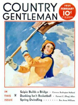 There's a good lass. This country gentleman is off to read a magazine. You can clear the driveway!
