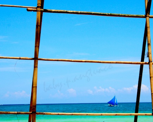 a sailboat or paraw framed by a bamboo fence