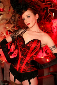 Velda Lauder Scarlet Satin and Black Lace 'Curved' Corset