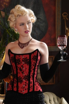 What Katie Did Gold Label Showgirl Antoinette Red and Black Corset 189.50