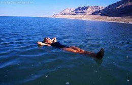 floating on the DEAD SEA in Israel
