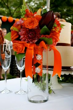 Beautiful flower arrangements set the theme for the wedding.