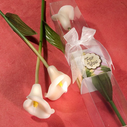 Calla Lily flower candles by Wedding Favors Unlimited.