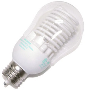 A cold cathode compact fluorescent light bulb.  Notice the shield of power.