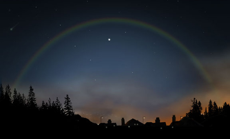 Rainbows can occur at night from the light of the moon.