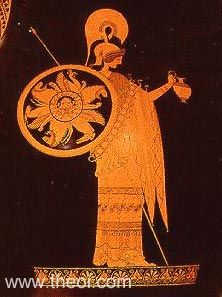 Athena and her shield.