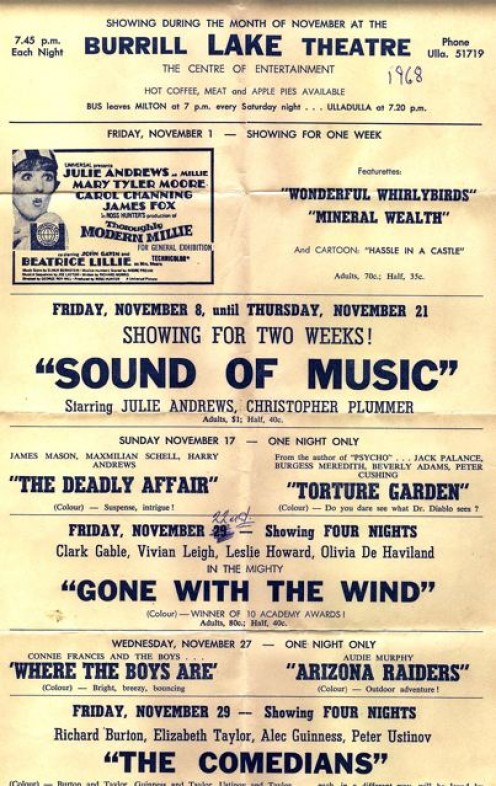NOVEMBER 1968 MOVIE PROGRAM