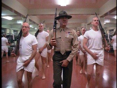 Gunnery Sergeant Hartman leads a basic training drill.