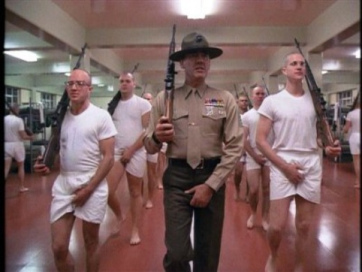 Gunnery Sergeant Hartman leads a basic training drill.