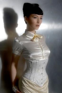 Velda Lauder Ivory Silk Embroidered Underbust Corset