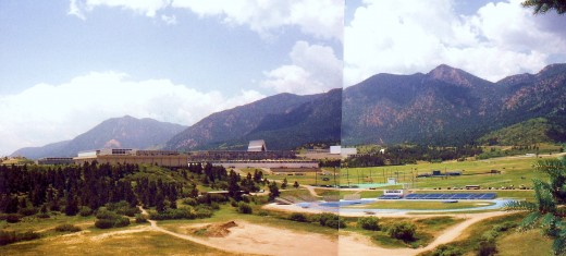 Approaching the Air Force Academy buildings * 2 photos pieced together