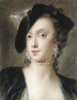 Portrait of Caterina Sagredo Barbarigo by Rosalba Carriera, cir. 1740. The subject is wearing a single-strand pearl collar and pendant pearl earrings