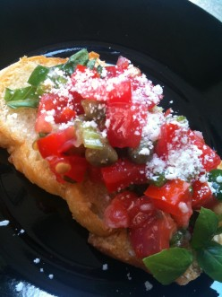 Tomato Bruschetta - Tomato Fresca with Basil, in Green Onion and Lemon