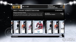 NHL 11 Ultimate Team Card Selection Screen.