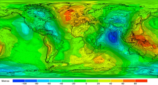 """The earth is gravitationally lumpy. Red shows dense points and blue show weaker points. These variations act as """"handles"""" for the moon and sun to alter the rotation."""