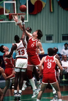 The US Olympic team starring David Robinson and Danny Manning lost to the Soviets, 82-76