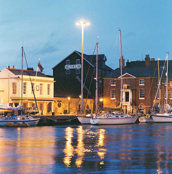 An evening view of Poole Quay