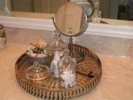 Beautiful apothecary jars look great and serve an important function on the bathroom countertop (click on picture for a larger view.)  See more pictures below...