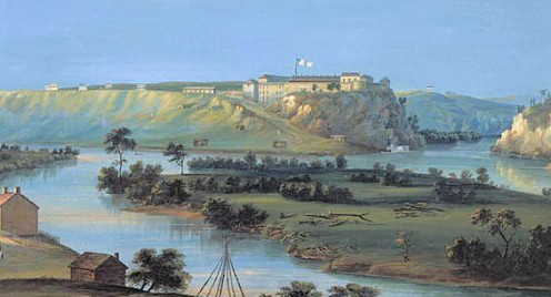 Fort Snelling sits on a rise in the background of this painting by Casper Wild in 1844.