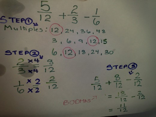 Adding fractions and subtracting factions