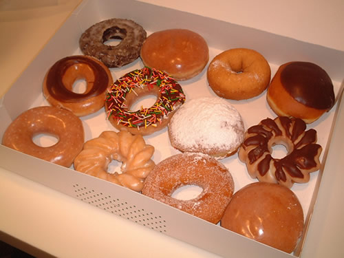 Assorted flavors of Krispy Kreme Doughnuts