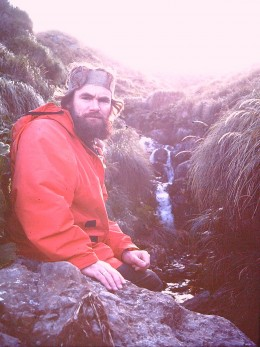 The writer in MacQuarie's wilds; mountain streams everywhere