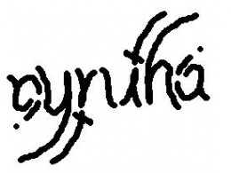 "The ambigram reads ""cynthia"".  After rotating by 180 degrees, it still reads ""cynthia""."