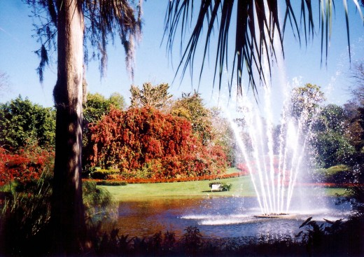 Beautiful grounds with fountains