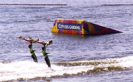 Some of the acrobatics performed on water at Cypress Gardens.