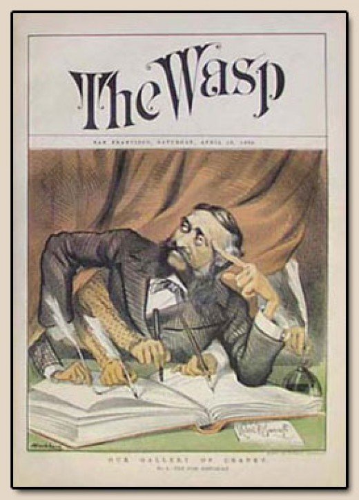 "Hubert Bancroft on the cover of ""The Wasp,"" a satirical magazine. The caricature of Bancroft, with the many hands writing, was intended to depict the general belief that he did not write much of his works, relying on his many researchers instead, and"