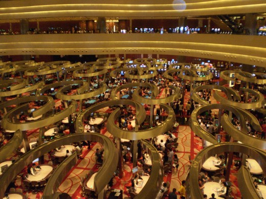 Inside the Marina Bay Sands casino.