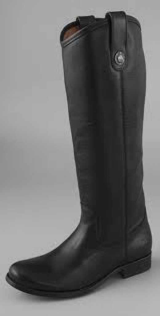 Melissa Button Frye boots, in black.