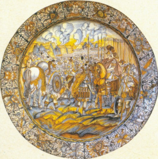 A plate portraying a war scene, by F. A. Grue.