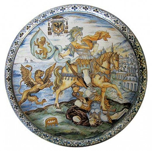 Plate with Horseman with a Banner, by F. A Grue.
