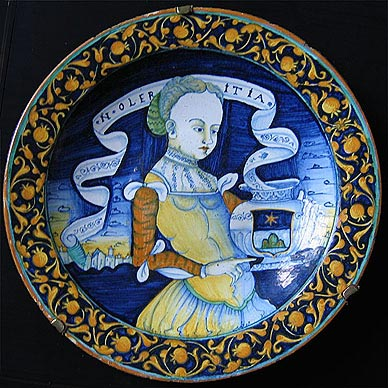 Plate with Woman Holding a Vase with Coat of Arms of Chigi, by Orazio Pompei.
