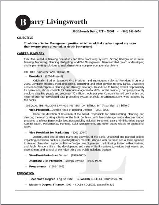 Sample of an Executive Management Resume
