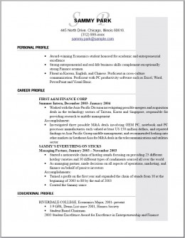Sample of an Entry Level Resume for Someone with 0-2 Years Experience