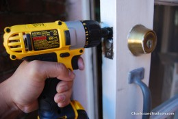 A Dewalt cordless drill in action