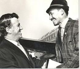 Edmund Hillary greets Tenzing Norgay circa 1971