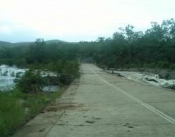 Annan River causeway, clear for now