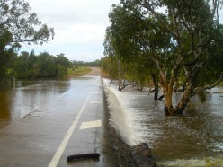 The McCloud River causeway under a foot of water